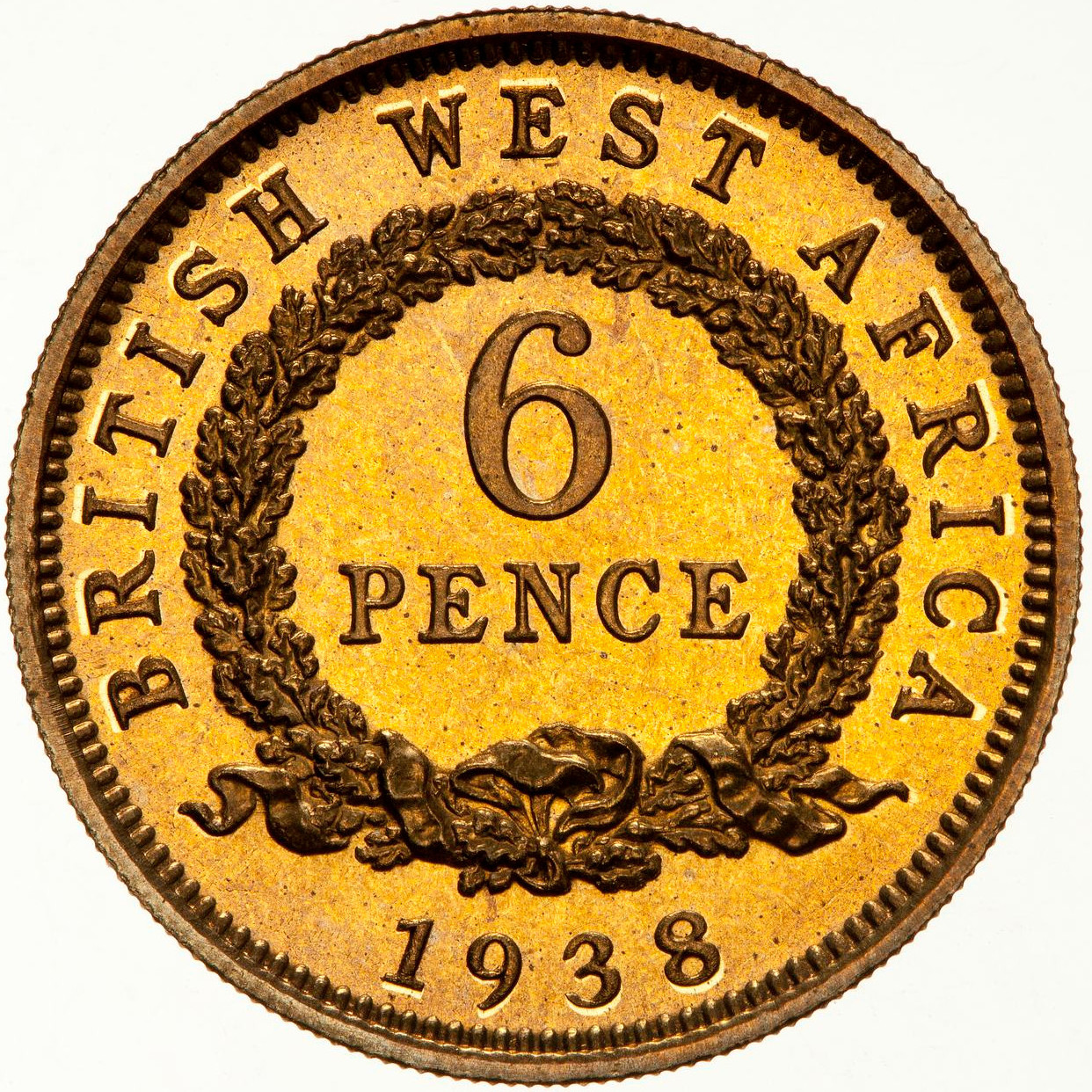 Sixpence 1938: Photo Proof Coin - 6 Pence, British West Africa, 1938