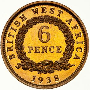British West Africa / Sixpence 1938 - reverse photo