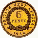 British West Africa / Sixpence 1938 / Proof - reverse photo
