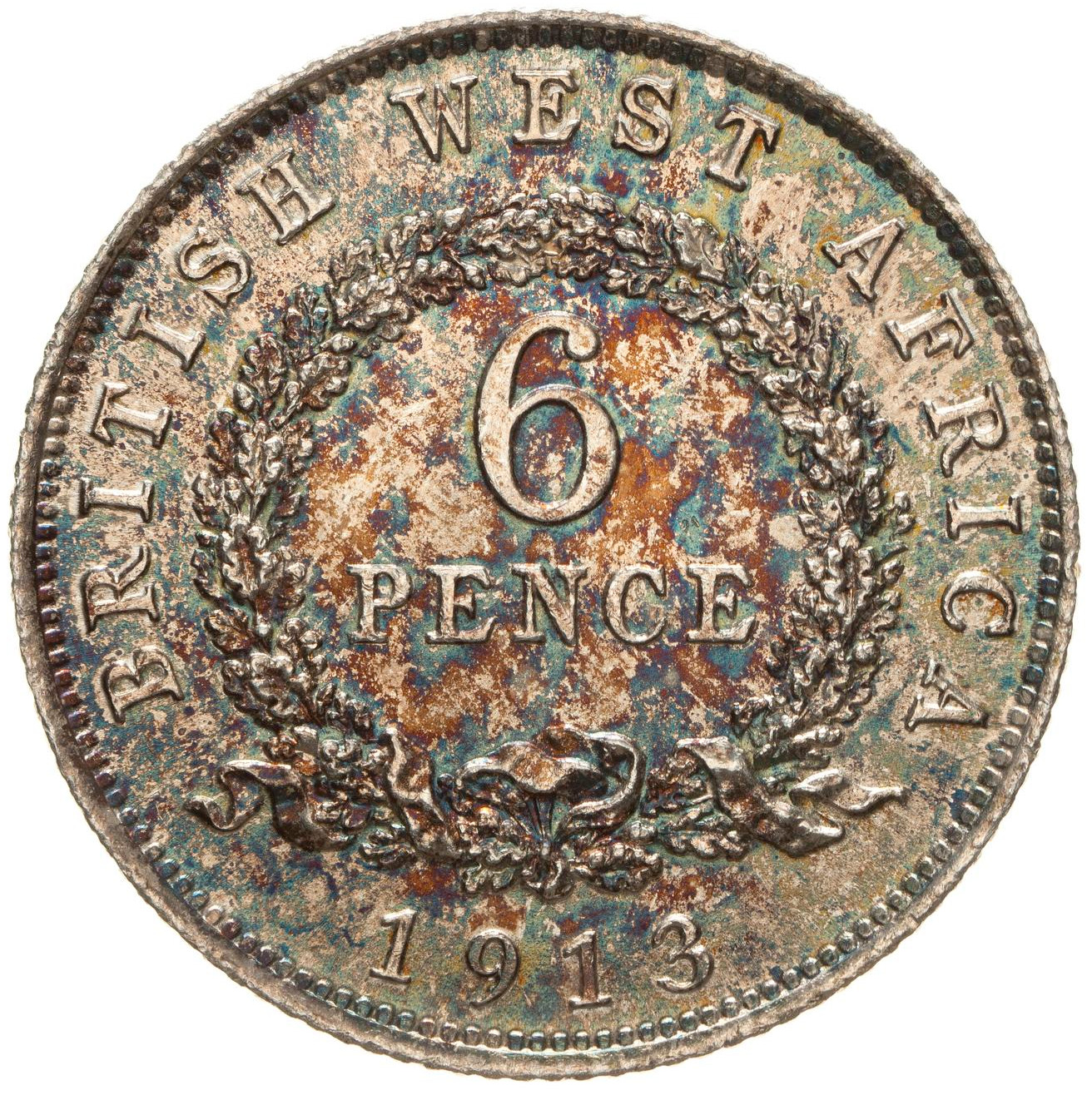 Sixpence 1913: Photo Coin - 6 Pence, British West Africa, 1913
