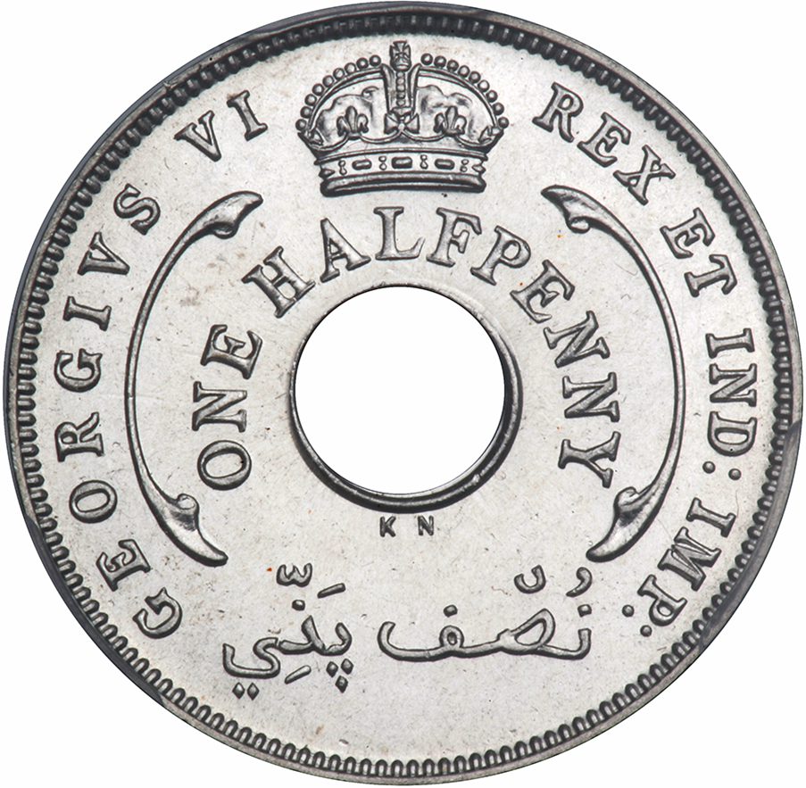 Halfpenny: Photo British West Africa 1940-KN 1/2 penny