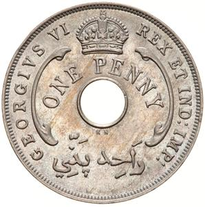 British West Africa / One Penny 1947 - obverse photo
