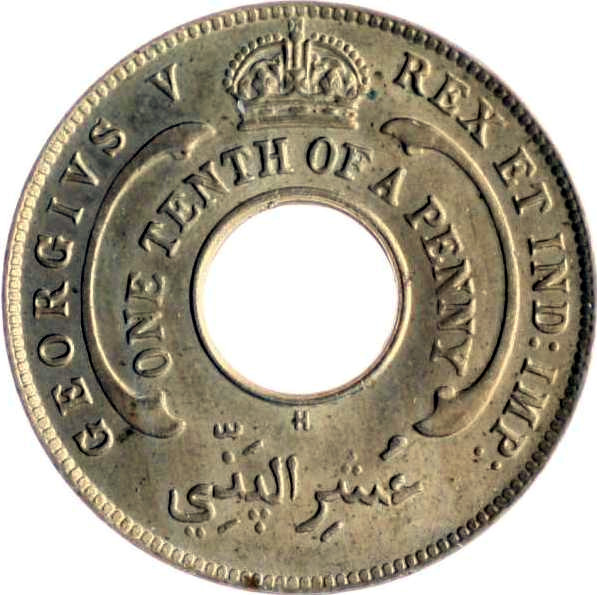 One-tenth Penny 1911: Photo Coin, British West Africa, 1/10th Penny 1911