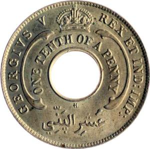 British West Africa / One-tenth Penny 1911 - obverse photo