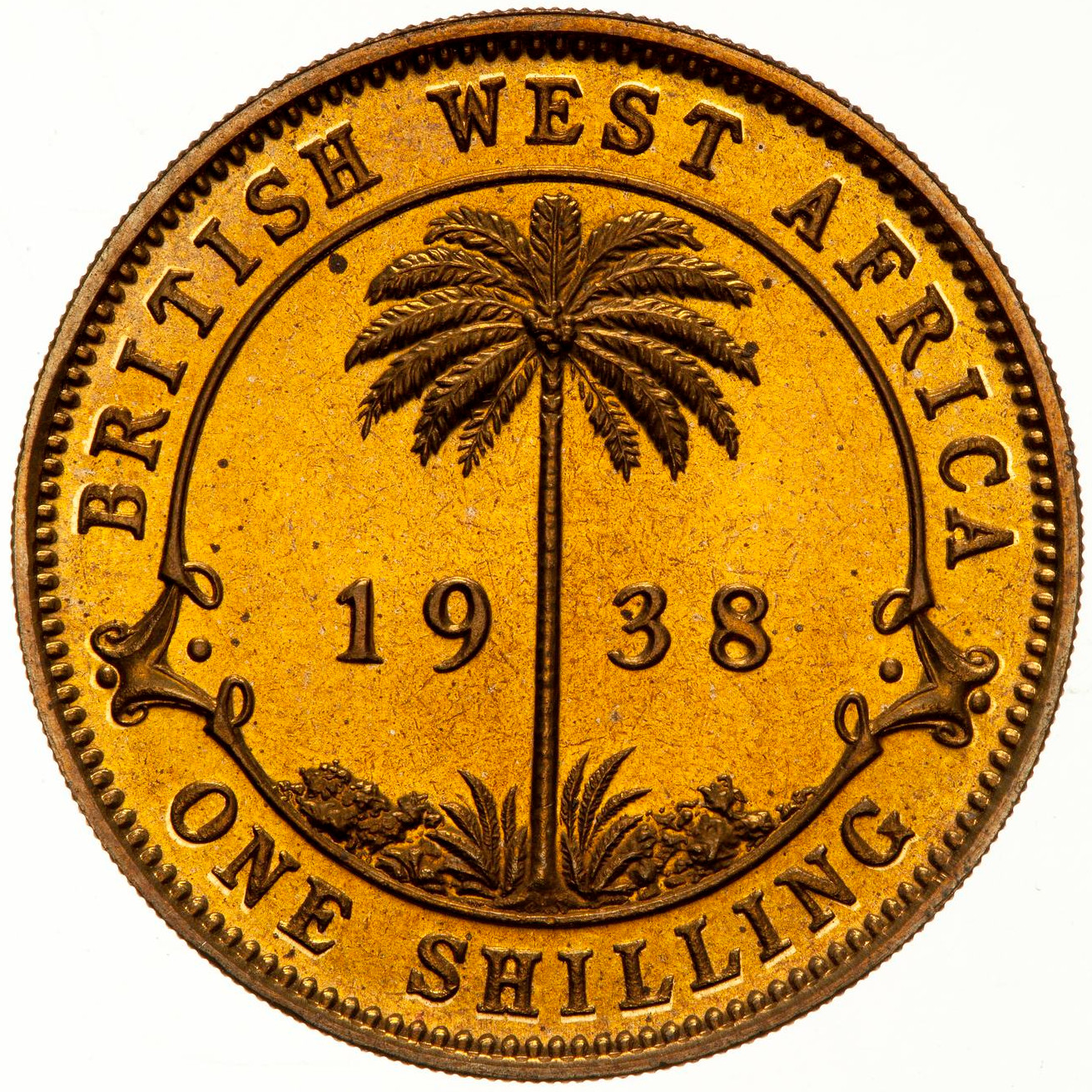 Shilling (Nickel Brass): Photo Proof Coin - 1 Shilling, British West Africa, 1938