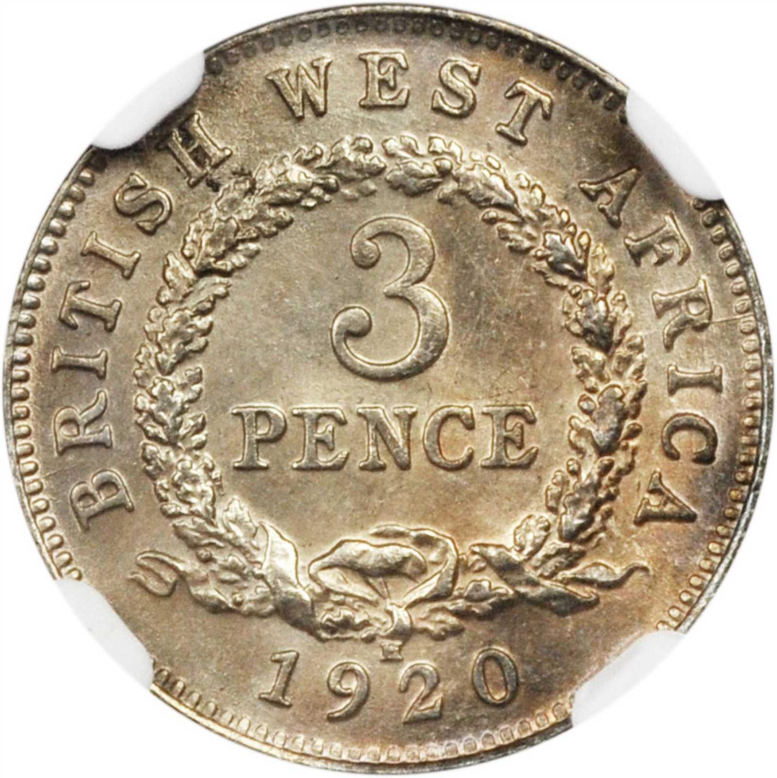 Threepence 1920 (Silver): Photo British West Africa 1920-H 3 pence