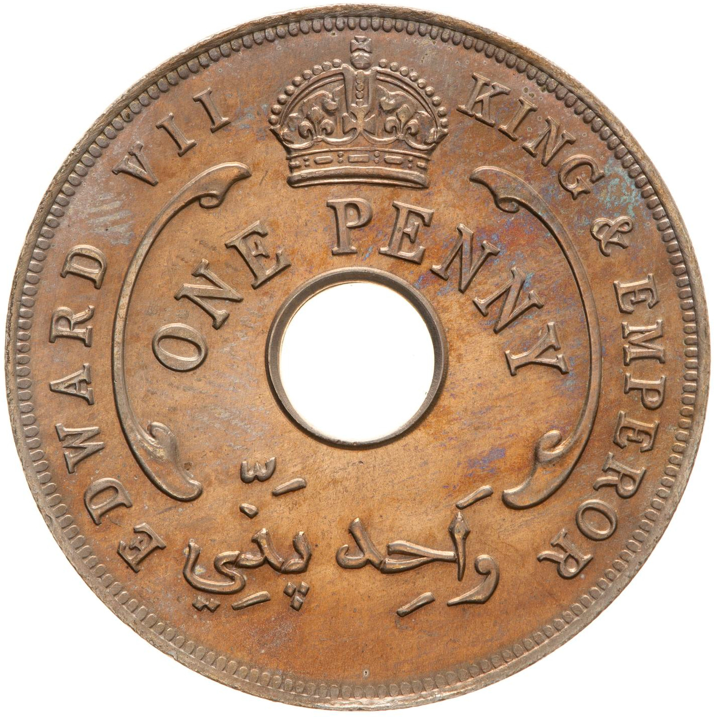 One Penny 1907: Photo Coin - 1 Penny, British West Africa, 1907
