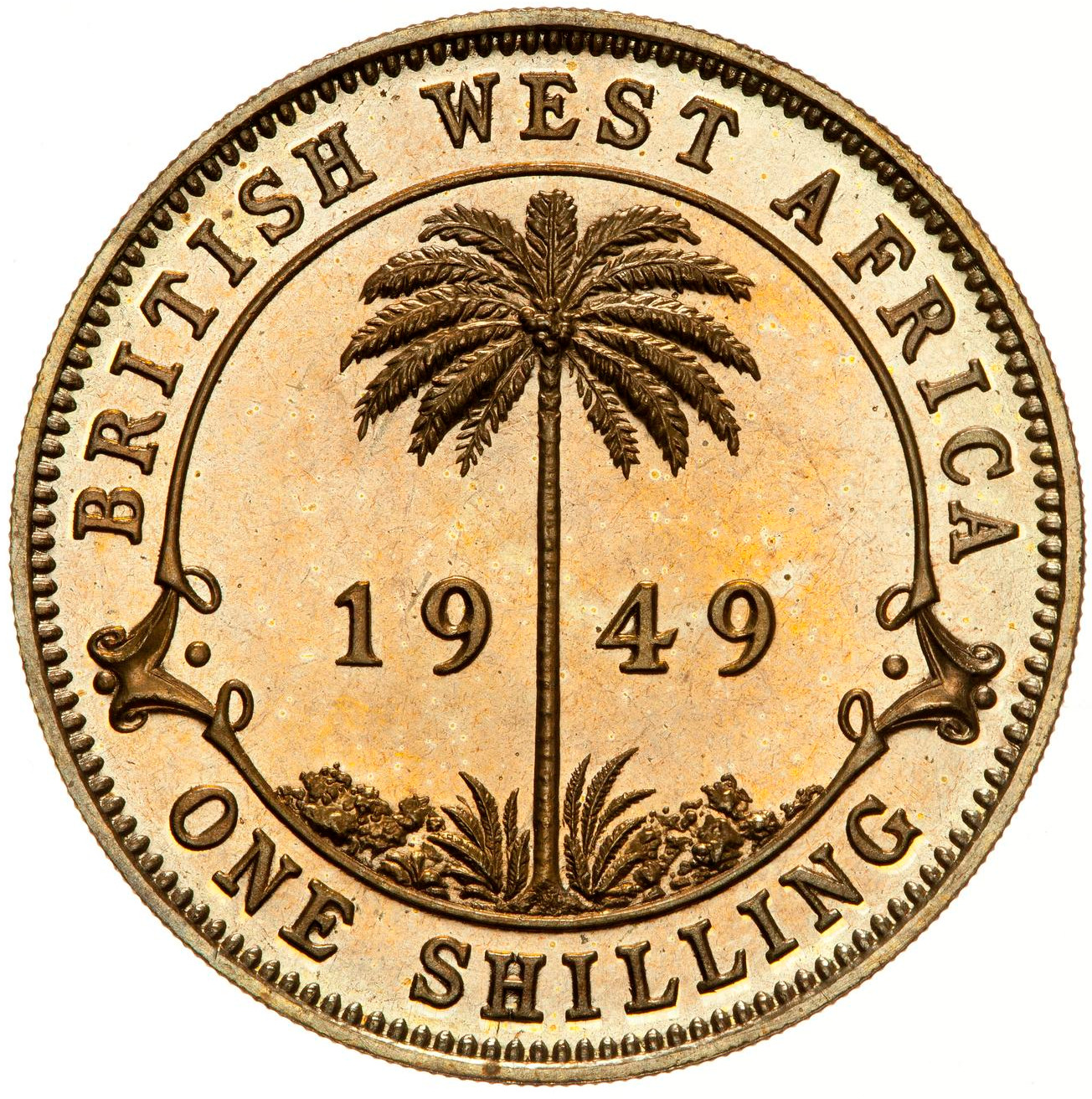 Shilling (Tin Brass, George VI): Photo Proof Coin - 1 Shilling, British West Africa, 1949