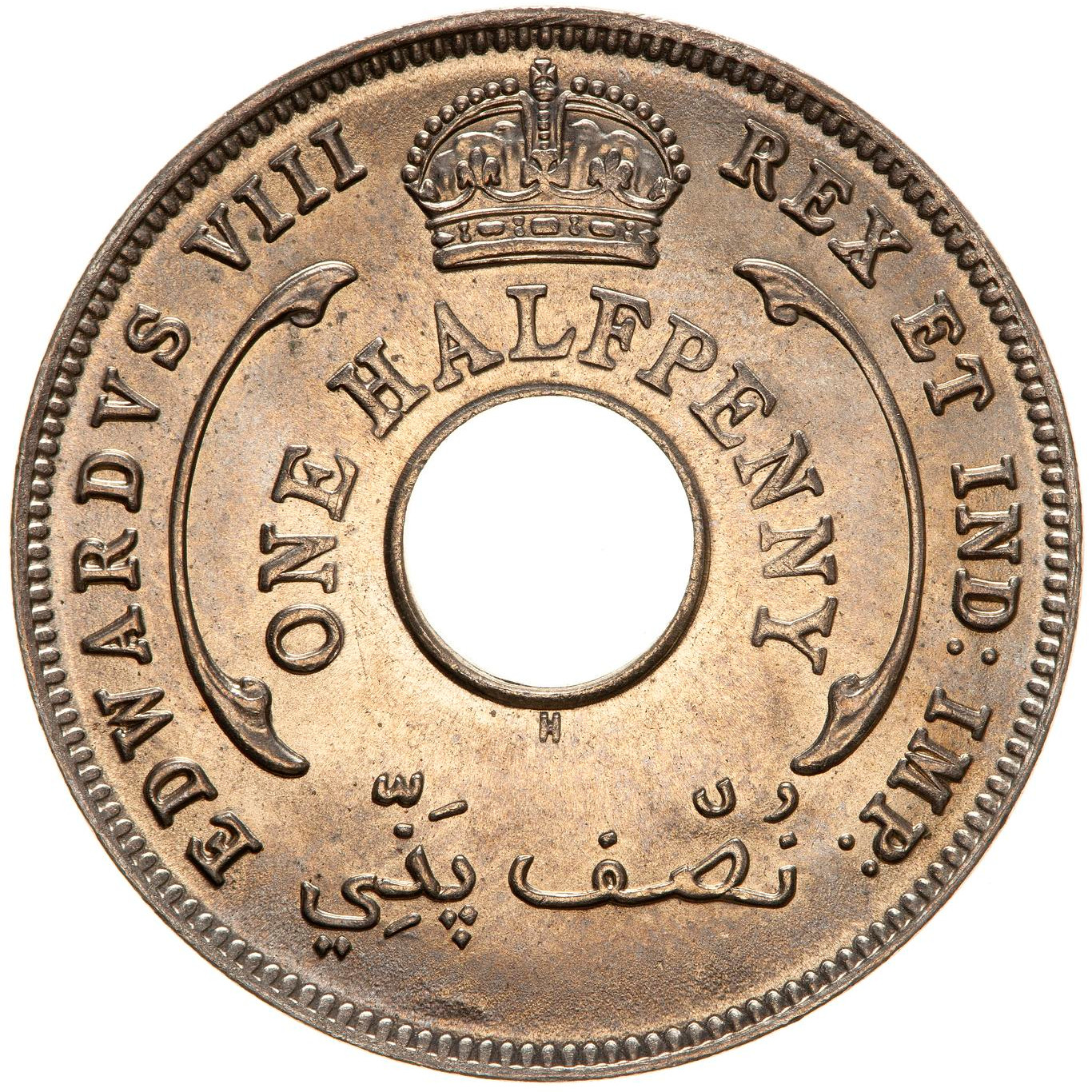 Halfpenny 1936 Edward VIII: Photo Coin - 1/2 Penny, British West Africa, 1936