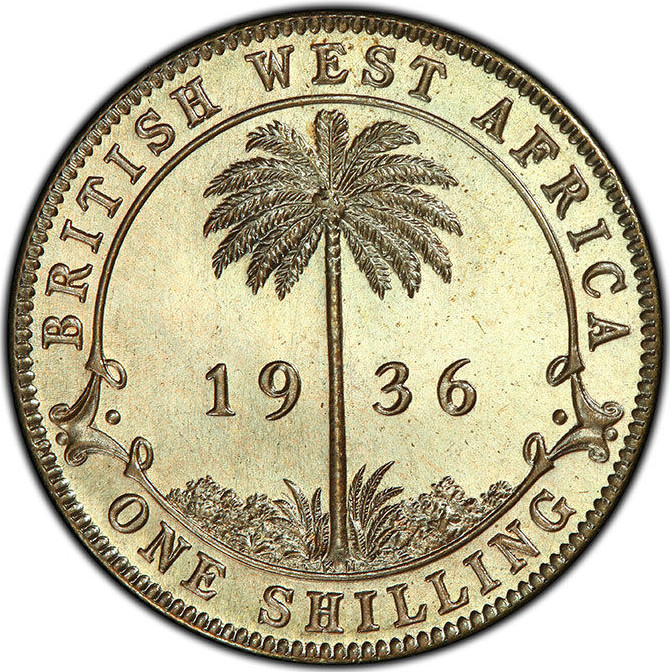 Shilling 1936: Photo British West Africa, George V 1936-KN Tin-Brass Shilling