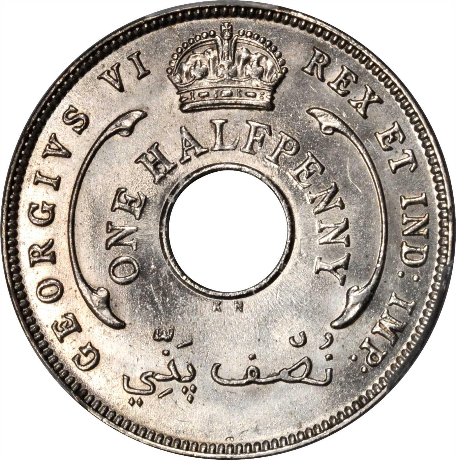 Halfpenny 1947, Coin from British West Africa - Online Coin Club