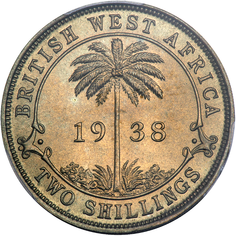 Two Shillings (Nickel Brass): Photo British West Africa 1938-KN 2 shillings