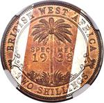 British West Africa / Two Shillings 1938 / Specimen (King's Norton Metal Co.) - reverse photo