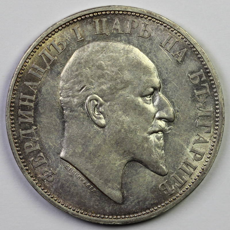 Two Leva (Silver): Photo Bulgaria, Ferdinand I (1887-1918): 2 Leva 1910