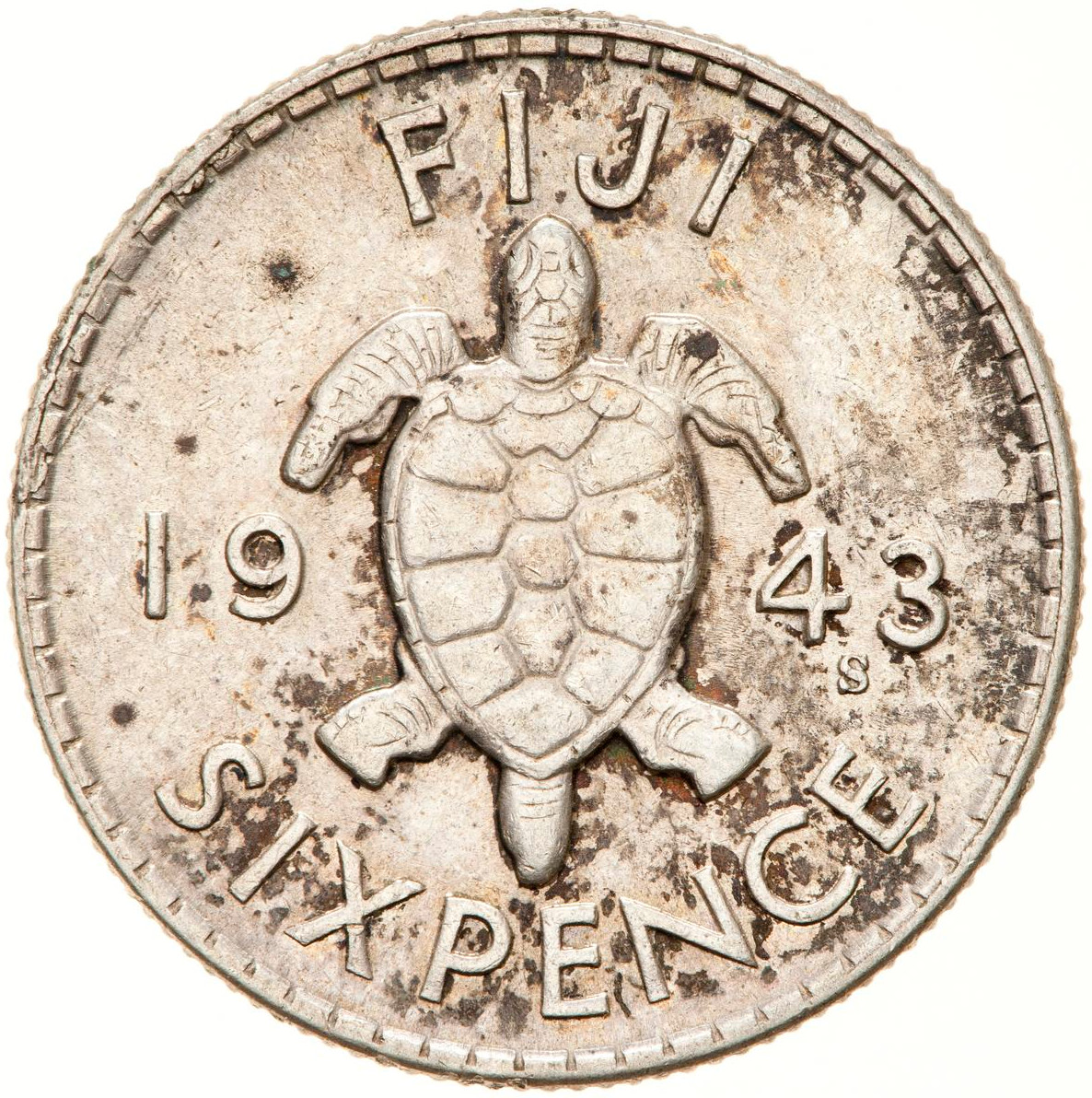 Sixpence 1943: Photo Coin - 6 Pence, Fiji, 1943