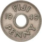 Penny 1949: Photo Museums Victoria Collections: Coin - 1 Penny, Fiji, 1949