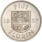 Florin 1937: Photo Proof Coin - Florin (2 Shillings), Fiji, 1937