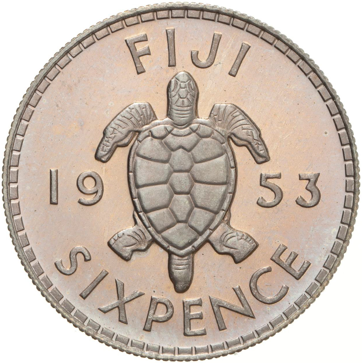 Sixpence 1953: Photo Proof Coin - 6 Pence, Fiji, 1953