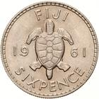 Fiji / Sixpence 1961 - reverse photo