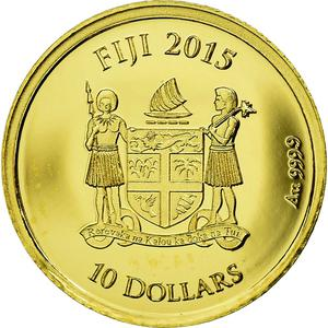 Fiji / Ten Dollars 2015 Ancient Sarcophagus - reverse photo