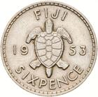 Fiji / Sixpence 1953 - reverse photo