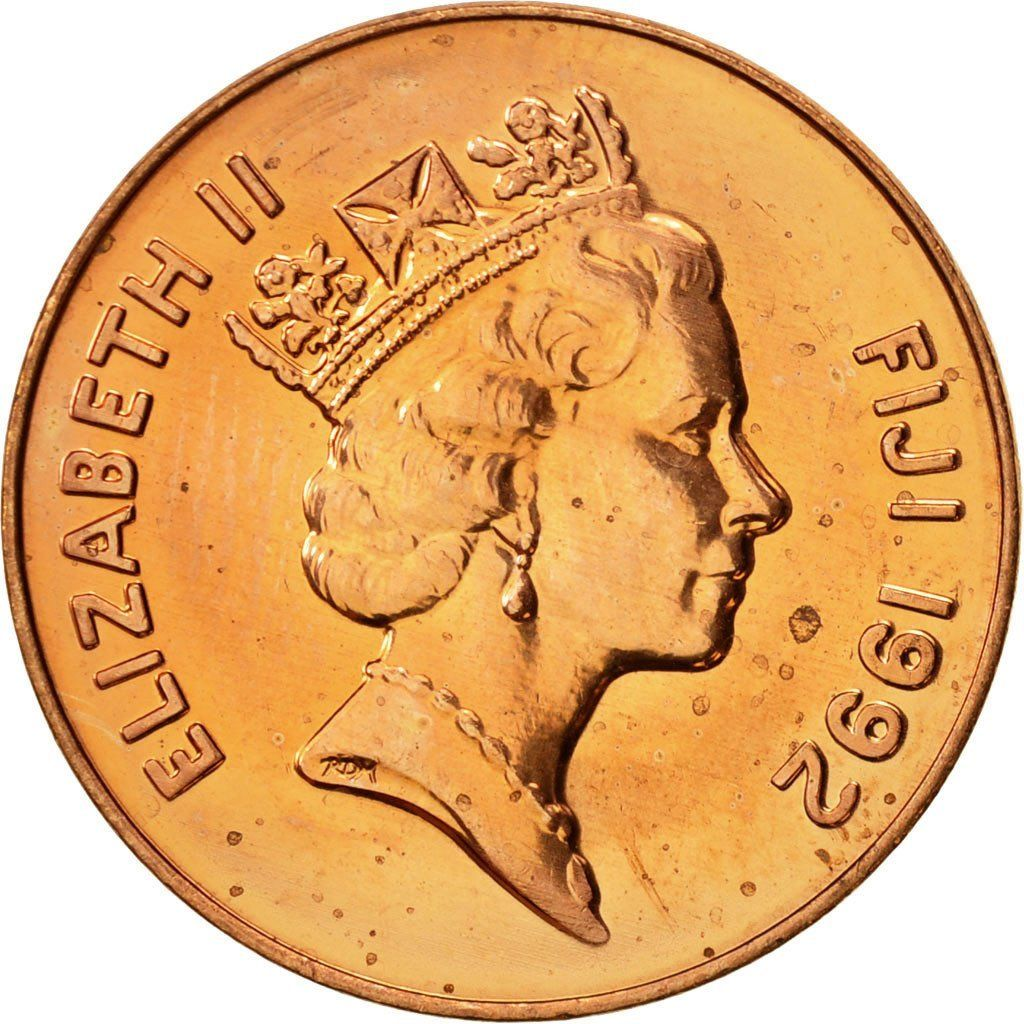 Two Cents 1992: Photo Fiji, Elizabeth II, 2 Cents, 1992