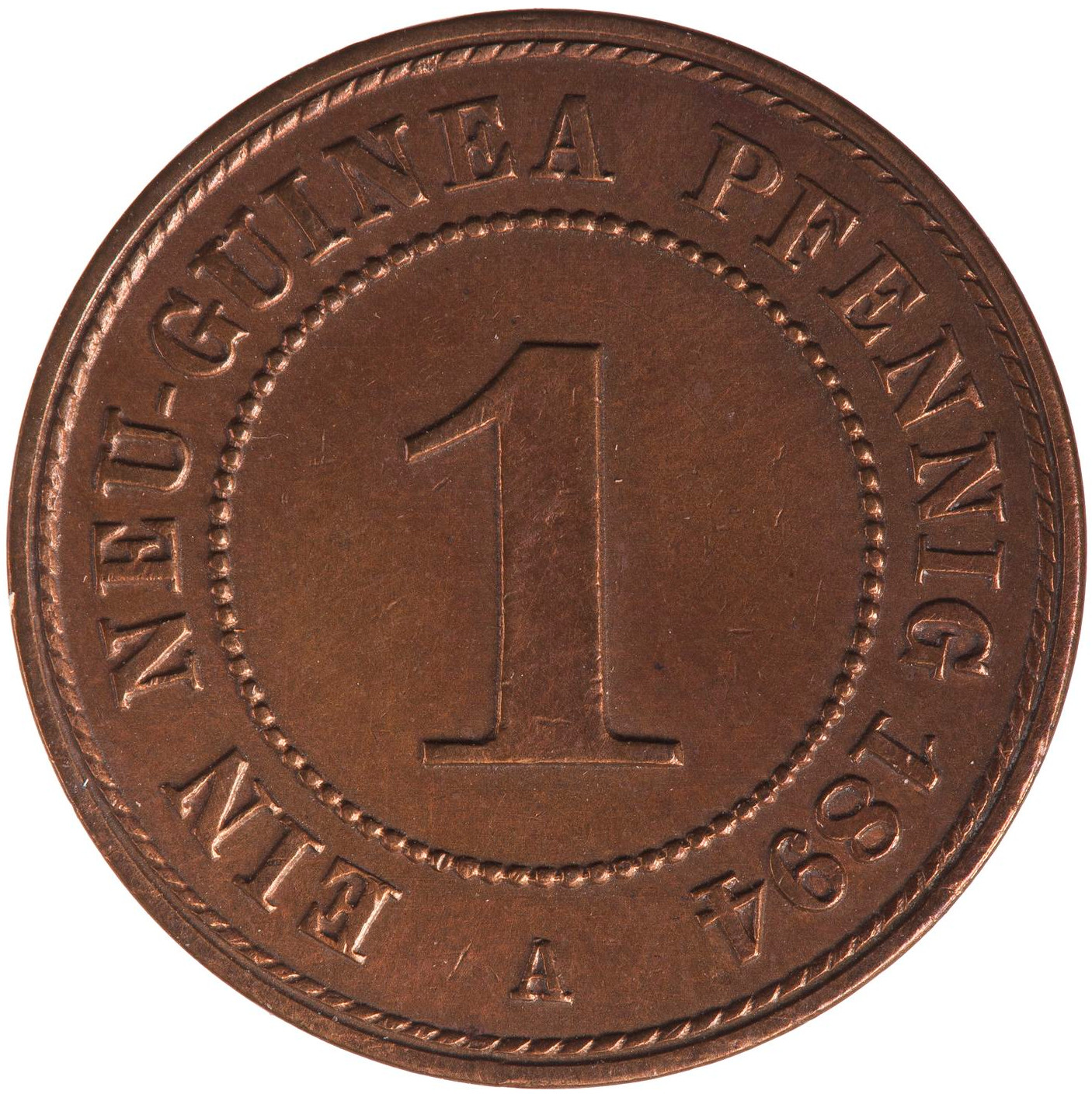 One Pfennig: Photo Coin - 1 Pfennig, German New Guinea (Papua New Guinea), 1894