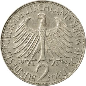 Germany / Two Marks 1963 Max Planck - reverse photo