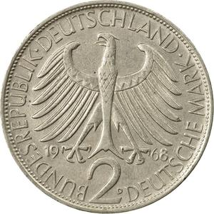 Germany / Two Marks 1968 Max Planck - reverse photo