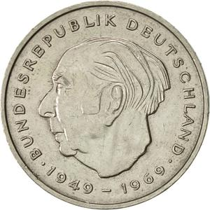 Germany / Two Marks 1975 Theodor Heuss - obverse photo