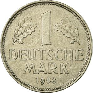 Germany / One Mark 1958 - reverse photo