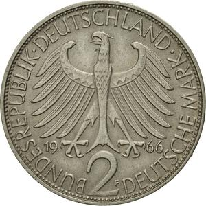 Germany / Two Marks 1966 Max Planck - reverse photo