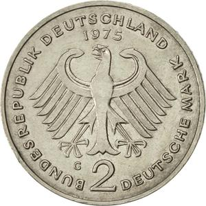 Germany / Two Marks 1975 Theodor Heuss - reverse photo