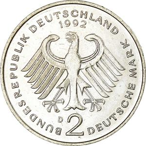 Germany / Two Marks 1992 Ludwig Erhard - reverse photo