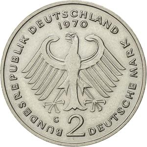 Germany / Two Marks 1970 Theodor Heuss - reverse photo