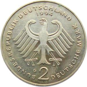 Germany / Two Marks 1994 Willy Brandt - reverse photo