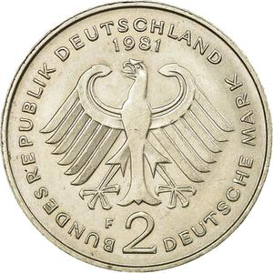 Germany / Two Marks 1981 Theodor Heuss - reverse photo
