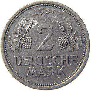 Germany / Two Marks 1951 - reverse photo