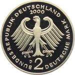 Germany / Two Marks 2000 Ludwig Erhard (mint sets only) / Proof 2000 D (Munich Mint) - reverse photo