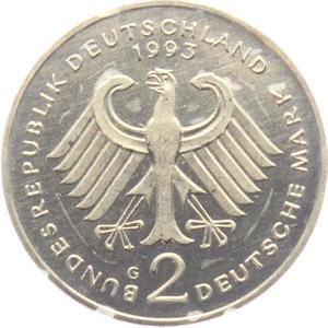 Germany / Two Marks 1993 Ludwig Erhard - reverse photo