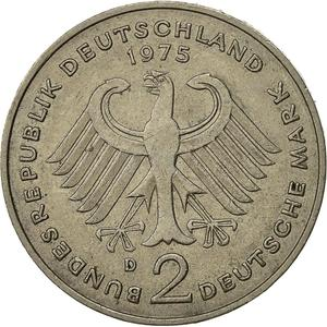 Germany / Two Marks 1975 Konrad Adenauer - reverse photo
