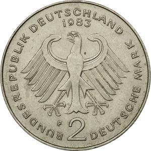 Germany / Two Marks 1983 Konrad Adenauer - reverse photo
