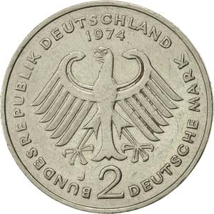 Germany / Two Marks 1974 Theodor Heuss - reverse photo