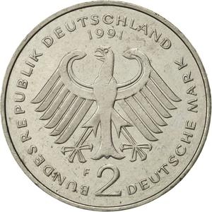 Germany / Two Marks 1991 Kurt Schumacher - reverse photo