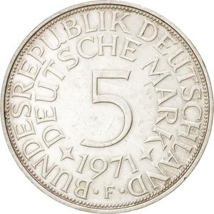 Germany / Five Marks 1971 - reverse photo