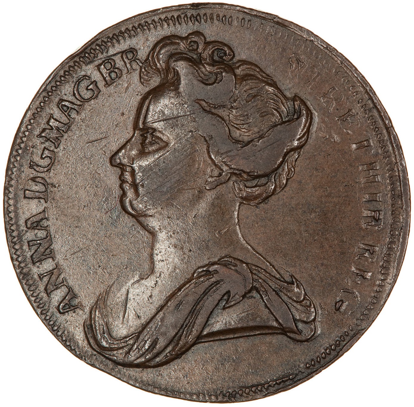 Halfpenny (Pattern): Photo Pattern Coin - Halfpenny, Queen Anne, England, Great Britain, 1707-1714