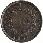 Thirty Lepta 1848: Photo Coin - 30 Lepta, Ionian Islands, Greece, 1848