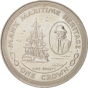 Isle of Man / One Crown 1982 HMS Bounty - reverse photo