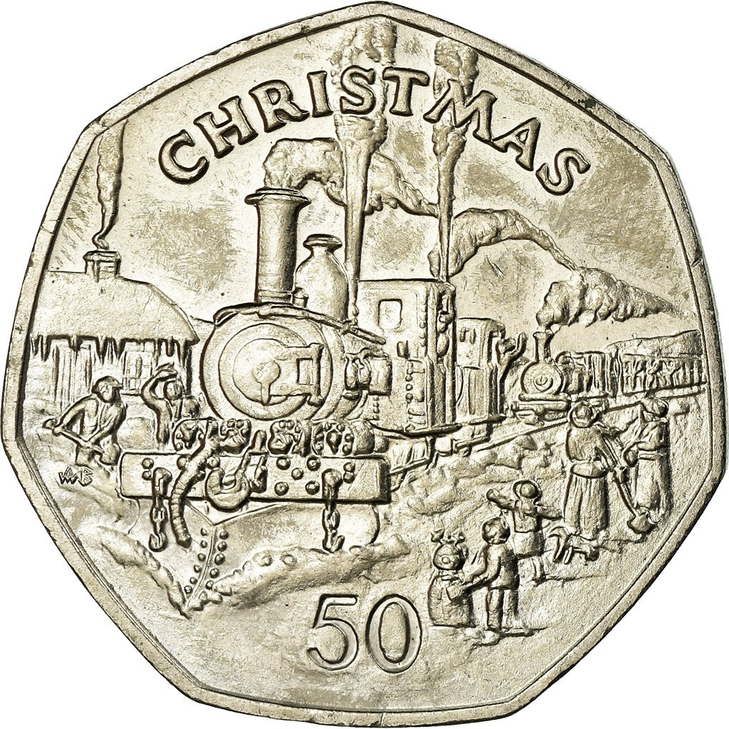 Fifty Pence 1984 Christmas: Photo Coin, Isle of Man, Fifty Pence 1984 Christmas