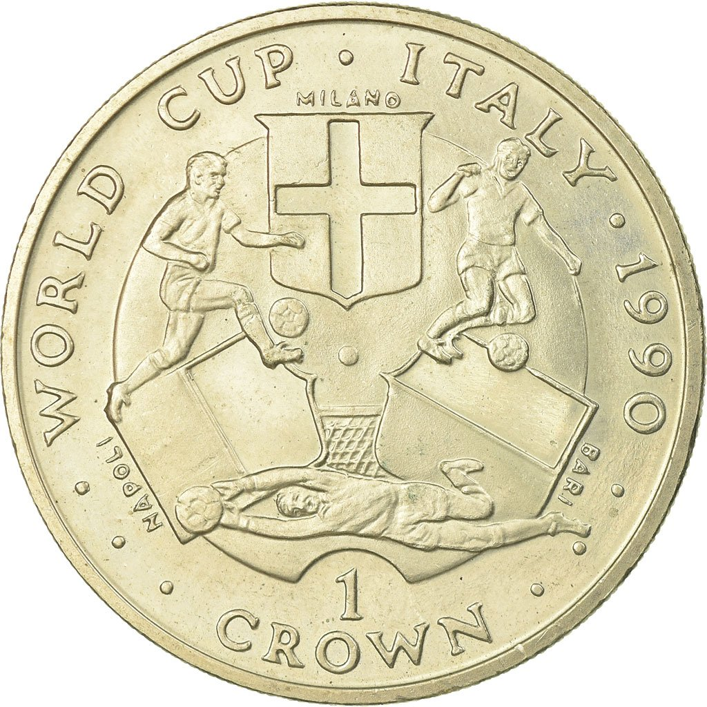 One Crown 1990 Football World Cup - Milano: Photo Coin, Isle of Man, One Crown 1990 Football World Cup - Milano